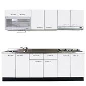 《巨蟹座》一字型廚具W300系統板櫃體/不鏽鋼檯面/結晶鋼烤門片/荷花白 $66999
