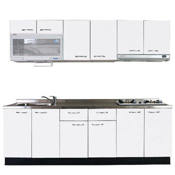 《巨蟹座》一字型廚具W300(系統板櫃體/不鏽鋼檯面/結晶鋼烤門片/荷花白)