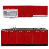 《巨蟹座》一字型廚具W300(系統板櫃體/不鏽鋼檯面/結晶鋼烤門片/棗紅)