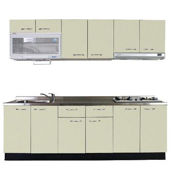 《巨蟹座》一字型廚具W300(系統板櫃體/不鏽鋼檯面/結晶鋼烤門片/酪梨)