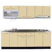 《巨蟹座》一字型廚具W300(系統板櫃體/不鏽鋼檯面/結晶鋼烤門片/起士黃)