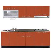《巨蟹座》一字型廚具W300(系統板櫃體/不鏽鋼檯面/結晶鋼烤門片/磚紅)