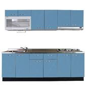 《巨蟹座》一字型廚具W300(系統板櫃體/不鏽鋼檯面/結晶鋼烤門片/皎藍)