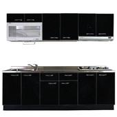 《巨蟹座》一字型廚具W300(系統板櫃體/不鏽鋼檯面/結晶鋼烤門片/神秘黑)