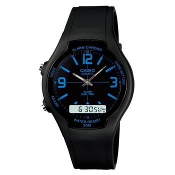 CASIO 都會個性型男雙顯錶 黑面藍刻度 AW-90H-2B