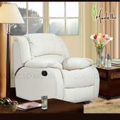 《Modello》伊莉莎白半牛皮休閒椅(米白色單人沙發)