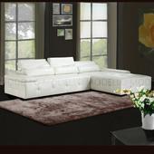 《Modello》維多莉亞L型皮沙發(白色左型)