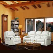 《Modello》伊莉莎白半牛皮休閒椅(米白色3+1人座沙發)