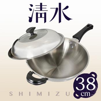 清水鍋具 清水透視七層複合金炒鍋(38CM-單柄+耳)