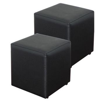 ★結帳現折★MYHOUSE BAN鱷魚紋小方椅-黑(兩入)