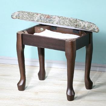 Homelike 典雅歐風掀蓋化妝椅(二色可選)(胡桃色)