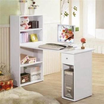 抽屜型4層置物櫃+電腦桌--附鍵盤架-二色可選(60x120cm/素雅白色)