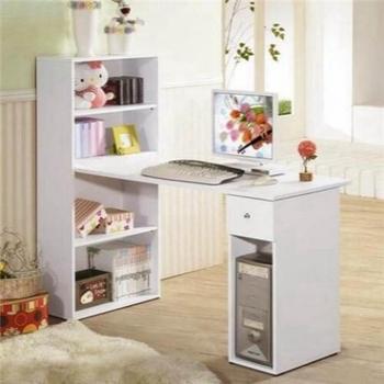 抽屜型4層置物櫃+電腦桌(60x120cm/素雅白色)