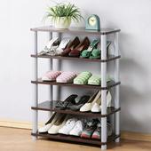 《Homelike》簡約五層開放式鞋架(胡桃色)