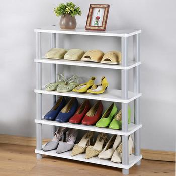 Homelike 簡約五層開放式鞋架(純白色)