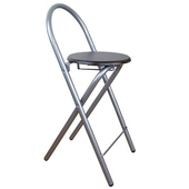 《頂堅》鋼管高背(木製椅座)折疊-吧台椅/折疊椅(二色可選)-1入/組(深胡桃木色)