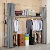 《C&B》衣世家加寬型日式頂天立地伸縮衣櫥(灰色布套)
