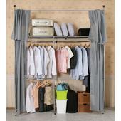 《C&B》衣世家一般型日式頂天立地伸縮衣櫥(灰色布套)