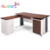 《SWEET》150CM 胡桃木紋色辦公桌+側桌櫃組(254-6)