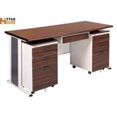 《時尚屋》150cm胡桃木紋色辦公桌櫃組