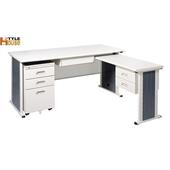 《時尚屋》150cm 灰色辦公桌櫃組(L型)