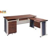 《時尚屋》150cm胡桃木紋色BYS辦公桌櫃組(L型)