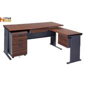《時尚屋》150cm胡桃木紋色BTH辦公桌櫃組(L型深灰)