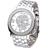 《MARC ECKO》嘻皮龐克晶鑽骷髏鋼帶腕錶E15024G2
