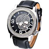 《MARC ECKO》嘻皮龐克晶鑽骷髏時尚腕錶 黑 E13524G1