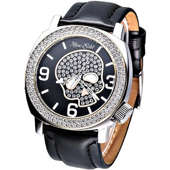 MARC ECKO 嘻皮龐克晶鑽骷髏時尚腕錶 黑 E13524G1