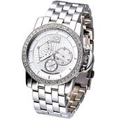 《MARC ECKO》雅爵星期逆跳3環晶鑽腕錶 - 二件式錶框限量版E18504G1