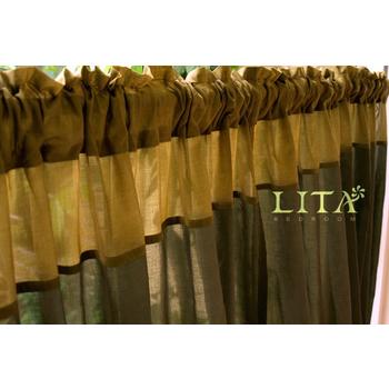 LITA 暮色-綠。DIY穿桿式窗簾-M簾(寬130*長150 cm)