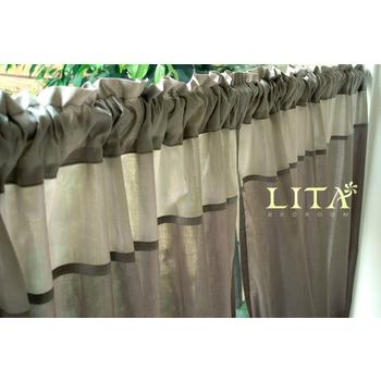 LITA 暮色-褐。DIY穿桿式窗簾-M簾(寬125*長150 cm)