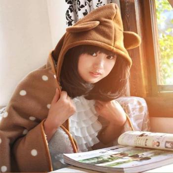《Bunny》加厚宅人披肩袖毯毛毯(二入)(棕棕熊)