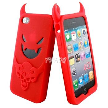 Apple iPhone 4 專用小惡魔 矽膠套/保護套/果凍套(二入)-贈保護貼(紅惡魔+紅惡魔)