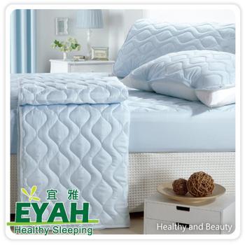 EYAH宜雅 鬆緊帶式純色雙人加大保潔墊3件組-迷情藍
