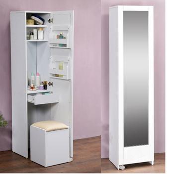 《C&B》收納化妝桌椅穿衣鏡櫃(白色)
