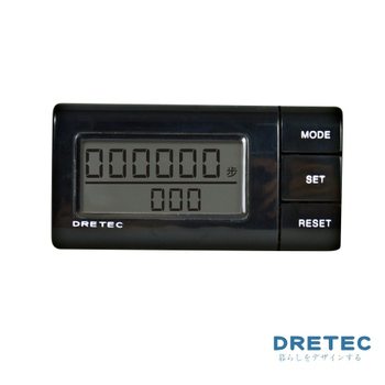 《dretec》流線型雙螢幕隨身計步器(黑色)