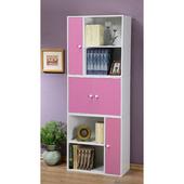 《C&B》任意組多用途書櫃組-白色櫃體(粉紅門板)