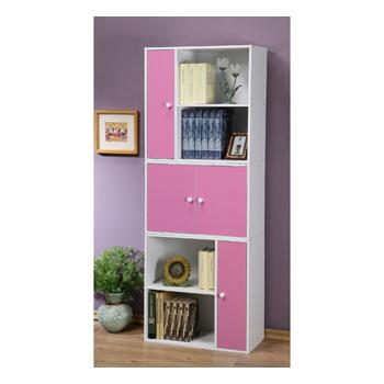 C&B 任意組多用途書櫃組-白色櫃體(粉紅門板)