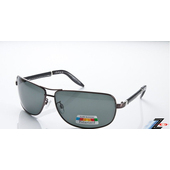 《Z-POLS》雷朋風金屬帥氣流行復古搭皮革腳 100%偏光UV4太陽眼鏡