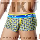 《TIKU 梯酷》雅格-超彈貼身平口男內褲(GY1154) 黃灰(L 腰圍29-32吋)