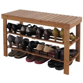 EASY HOME 竹製三層穿鞋椅-寬70公分