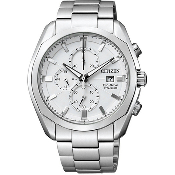 CITIZEN Eco-Drive 超級鈦計時光動能競速腕錶(CA0021-53A-白/43mm)