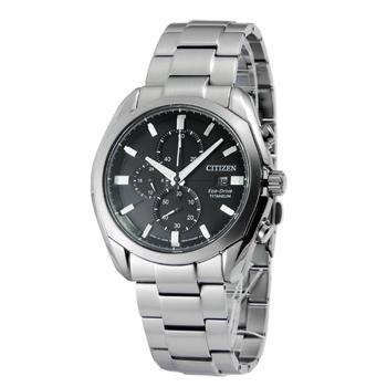 CITIZEN Eco-Drive 超級鈦計時光動能競速腕錶(CA0021-53E -黑/43mm)