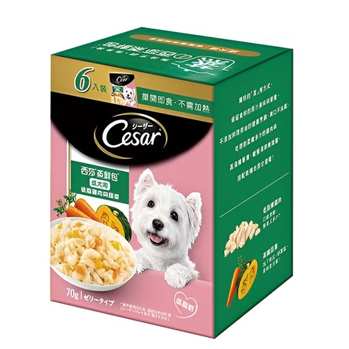 《西莎》蒸鮮包成犬低脂雞肉與蔬菜(70g*6包/盒)