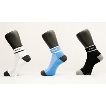 《ELF》奈米竹炭除臭專業機能運動襪6雙入(24-26cm 白2雙入+黑/黃/寶藍/粉各1雙)