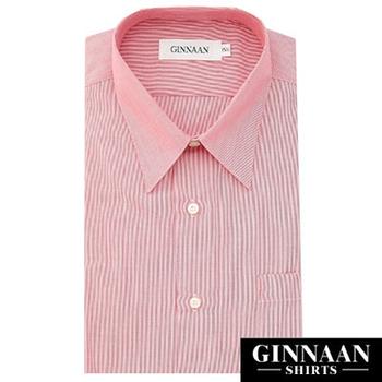 GINNAAN 奢華優質選短袖襯衫(紅莓直紋)(15.5)