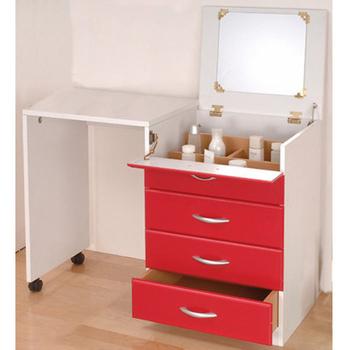 《C&B》創意兩用伸縮化妝桌櫃(紅色)