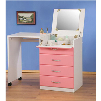 《C&B》創意兩用伸縮化妝桌櫃(粉色)